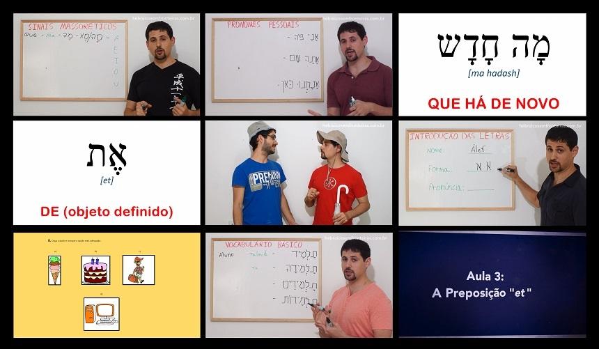 Frames com momentos do módulo iniciante do curso de hebraico.
