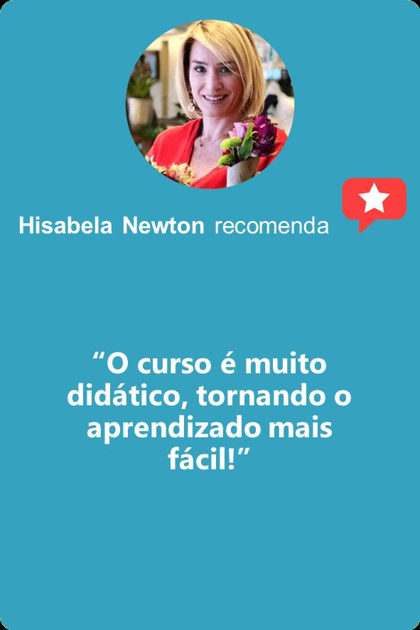 """Hisabela Newton: """"O curso é muito didático, tornando o aprendizado mais fácil!"""""""